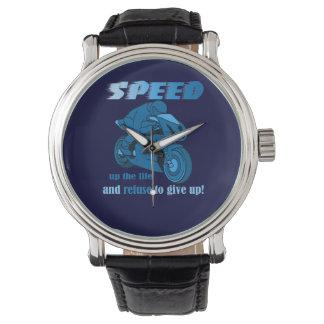 速度青いグリッターの腕時計 腕時計