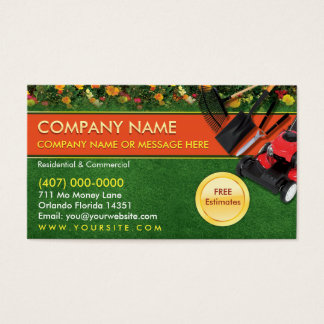 造園の芝生の心配の芝刈り機の名刺のテンプレート 名刺