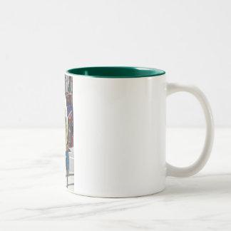 連合正方形のハート ツートーンマグカップ