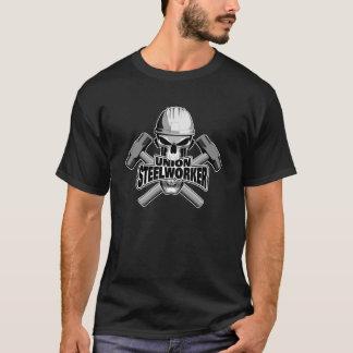 連合製鋼職工: スカルおよびそりハンマー Tシャツ