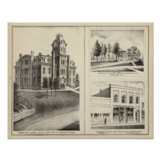 連合高等学校、住宅及びジャクソン郡銀行 ポスター