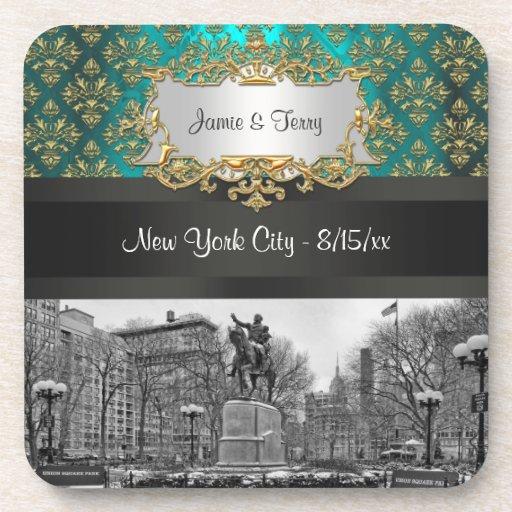 連合|正方形|NYC|金ゴールド|ティール(緑がかった色)|ダマスク織|222 飲み物コースター