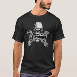 連合Millwright: スカルおよびレンチ Tシャツ