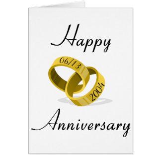 連結のリング-刻まれたカスタムな結婚式の日付 カード