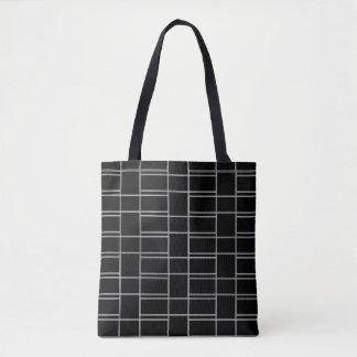 連結の白黒長方形パターン トートバッグ