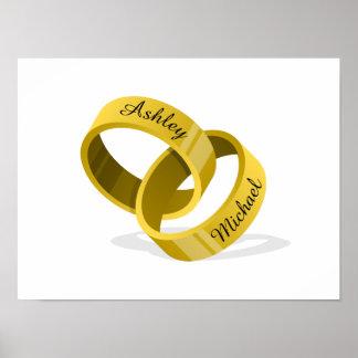 連結の結婚指輪-あなたの名前を刻んで下さい ポスター