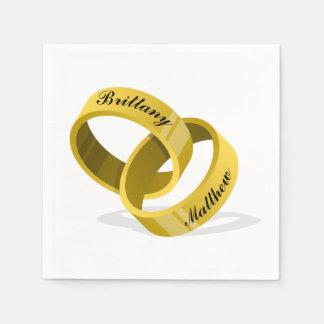 連結の結婚指輪-刻まれた名前をカスタムする スタンダードカクテルナプキン