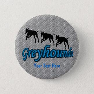 連続したグレイハウンド犬ボタン 5.7CM 丸型バッジ