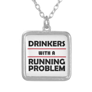 連続した問題の酒飲み シルバープレートネックレス