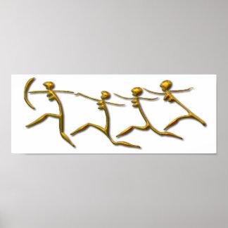 連続した女性の金ゴールド ポスター