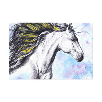 連続した馬の水彩画インク芸術の包まれたなキャンバス キャンバスプリント