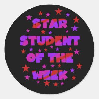 週のステッカーのピンクおよび紫色の星学生 ラウンドシール