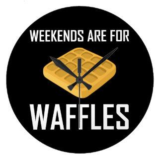 週末はワッフルのためです ラージ壁時計