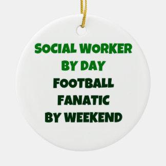 週末までに日のフットボールの熱狂者によるソーシャルワーカー セラミックオーナメント