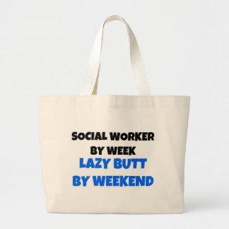 週末までに週の不精なお尻によるソーシャルワーカー ラージトートバッグ