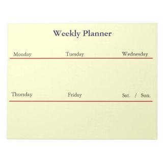 週間プランナーのメモ帳(白い) ノートパッド