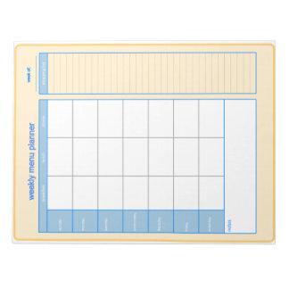 週間メニュープランナーのメモ帳 ノートパッド