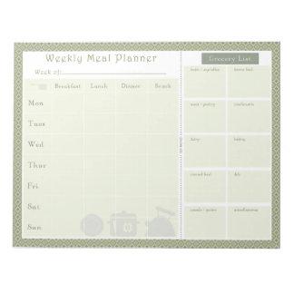 週間食事のプランナーの緑のダイヤモンド ノートパッド