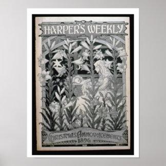 「週間」ハープ奏者クリスマスの発表1896年(l ポスター