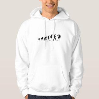 進化のアコーディオンのフード付きスウェットシャツ パーカ
