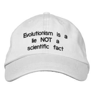 進化主義はうそです 刺繍入りキャップ