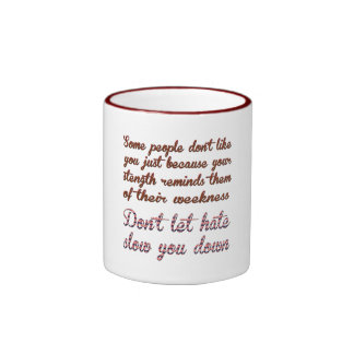 遅い憎悪を前向きなメッセージのマグ許可しないで下さい リンガーマグカップ