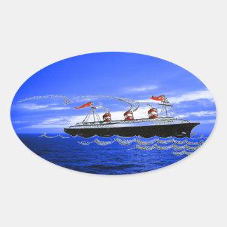 遊航船の遠洋定期船は青の雲の空を振ります 楕円形シール