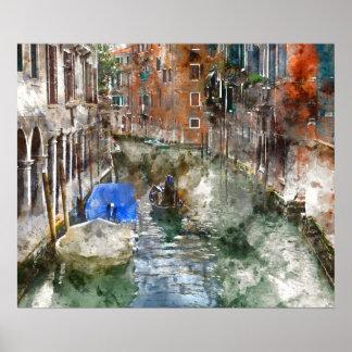 運河のベニスイタリアのボート ポスター