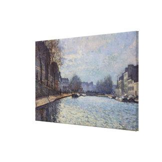 運河セントマーチン、パリのアルフレッド・シスレー|の眺め キャンバスプリント