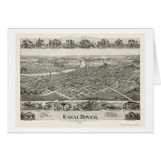 運河ドーバー、オハイオ州のパノラマ式の地図- 1899年 カード