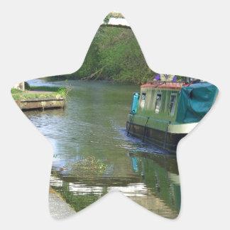 運河ボートのクルージング 星形シール・ステッカー