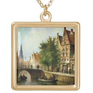 運河、アムステルダム(パネルの油)の姿 ゴールドプレートネックレス