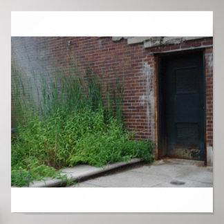 運河、インディアナポリスに沿う風化させたドア、 ポスター