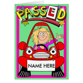 運転免許試験の合格の漫画のお祝い カード