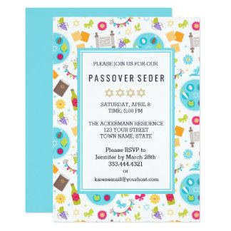過ぎ越しの祝いのSedarのカラフルでモダンな招待状 12.7 X 17.8 インビテーションカード