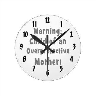 過保護の母black.pngの子供 ラウンド壁時計