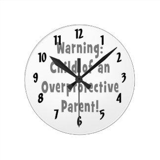 過保護親黒の子供 ラウンド壁時計