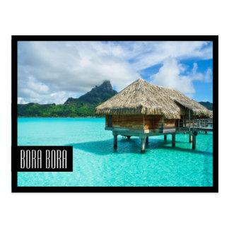過剰水バンガローのBora Bora黒いフレームの郵便はがき ポストカード