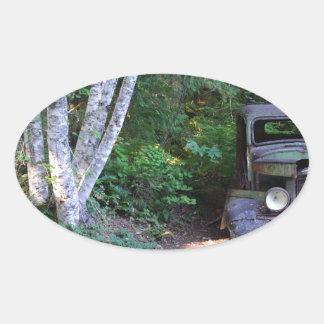 過去の車 楕円形シール