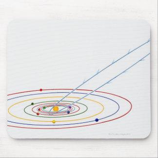 道が付いている太陽系のイラストレーションの マウスパッド