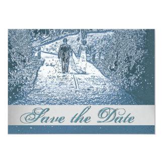 道の保存の花嫁及び新郎の歩く日付の招待 カード