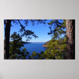 道の眺めのwinter湖のウォシト川アーカンソーポスター ポスター