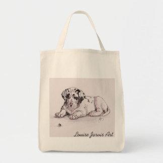 道化師のグレートデーンのキャンバスの買い物袋 トートバッグ