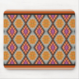 道化師のデザインのオレンジか紫色の宝石用原石パターン マウスパッド