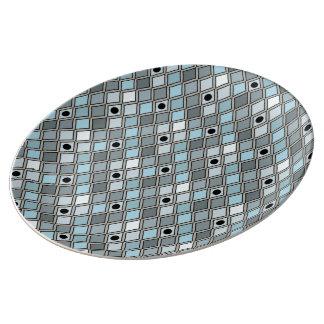 道化師のパターンによって曲げられる青いダイヤモンドの形 磁器プレート