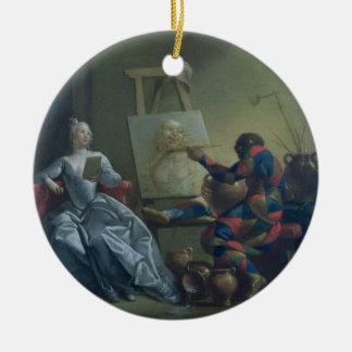 道化師ペインター、c.1742 (キャンバスの油) セラミックオーナメント