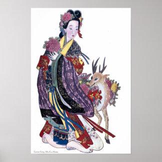 道教徒の妖精MoKu Hsienおよびシカ ポスター