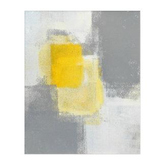 「道組合せ」の灰色および黄色の抽象美術 アクリルウォールアート