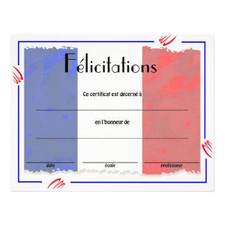 達成のフランスのなクラスの証明書 チラシ