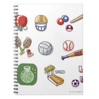 違うなタイプのスポーツ用品のクローズアップ ノートブック